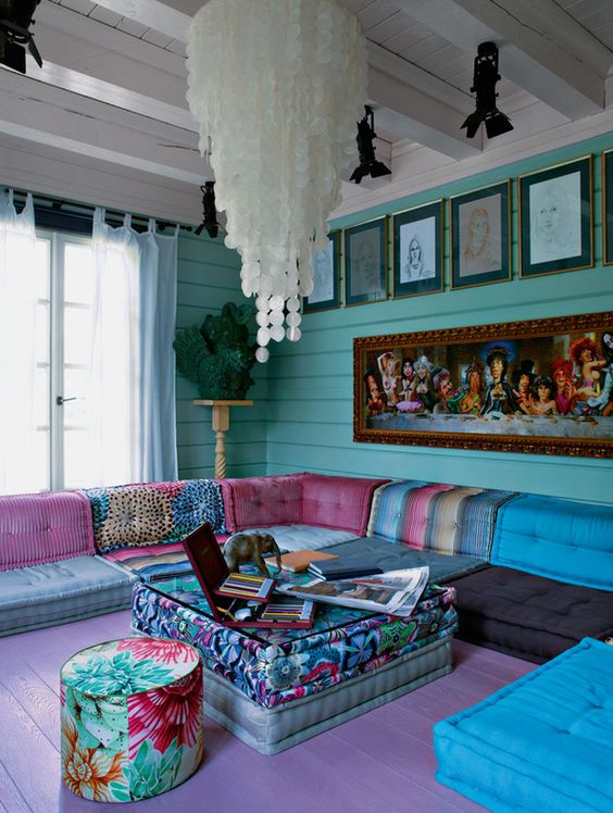 Large Boho Chic Living Room With Turquoise Walls And Colorful Upholstery Part 86