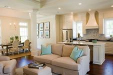 26 neutral kitchen in ivory and a tan living room to separate the zones