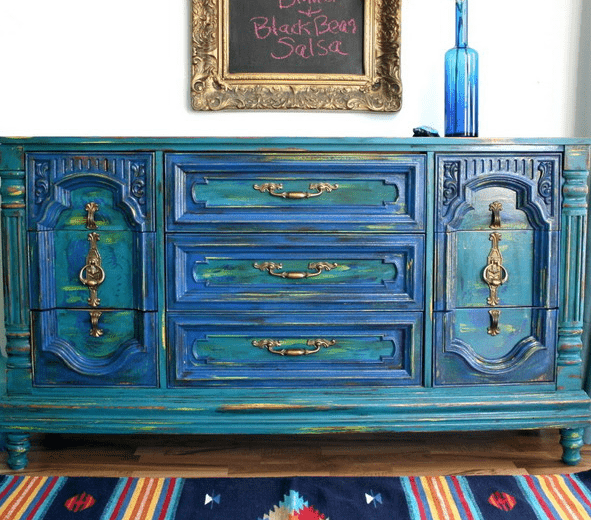 stunning bold green and blue vintage dresser with brass detailing