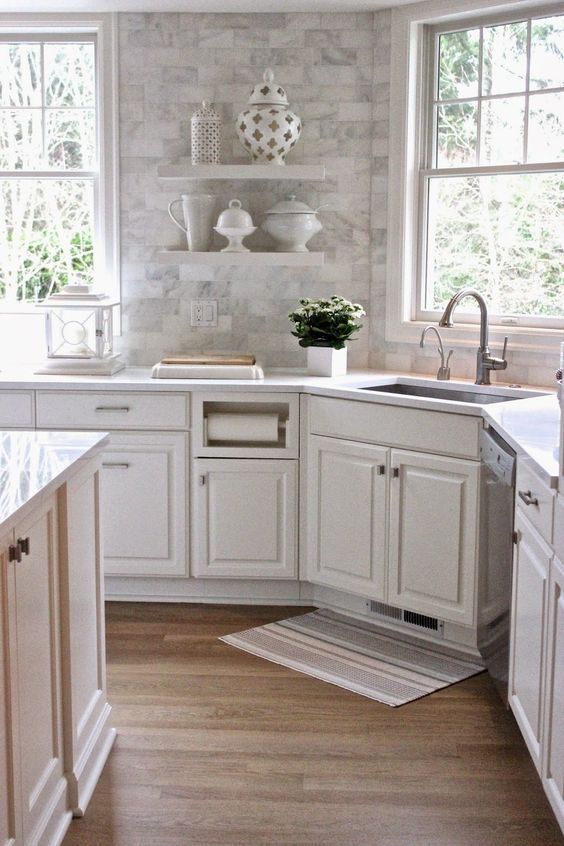 White Cabinets, Subway Tiles With A Carrara Marble Print, White Quartz  Countertops
