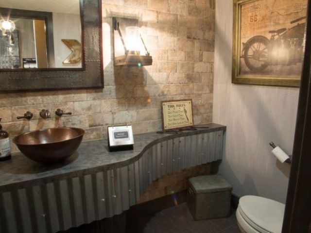 32 trendy and chic industrial bathroom vanity ideas digsdigs for Corrugated iron bathroom ideas