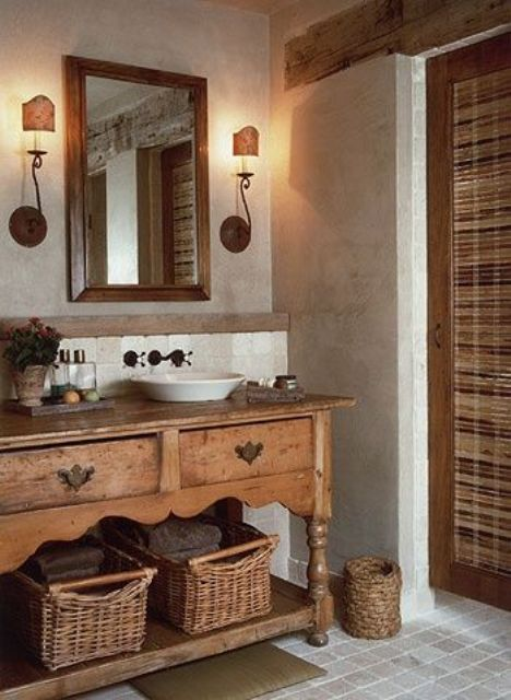 rustic vintage bathroom vanity with baskets and drawers