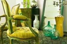 27 sage green carper and accessories, yellow upholstery and emerald touches