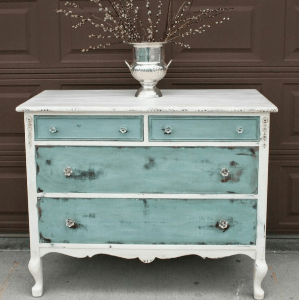 white and aqua dresser with a watercolor touch
