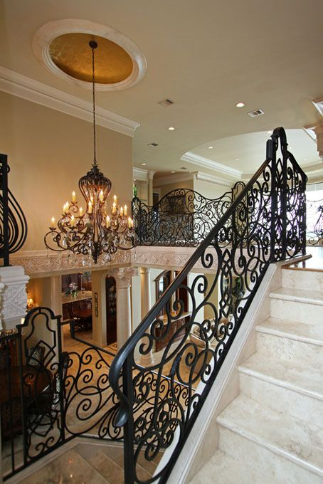 wrought iron railing with eye-catchy whimsy patterns