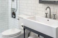 28 metal and wood bathroom vanity on casters looks vintage and industrial