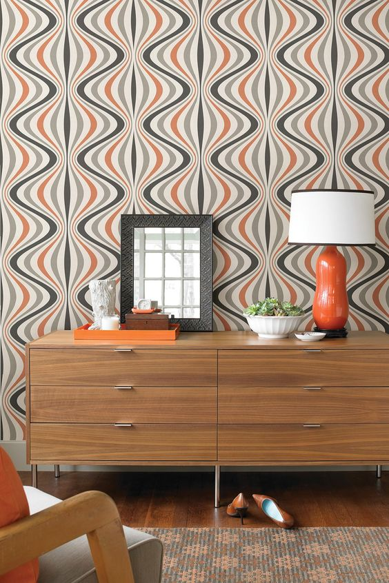 orange, white and grey wallpaper with a geometric look