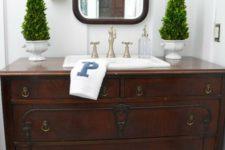 28 rustic vintage sideboard with antique handles repurposed into a vanity