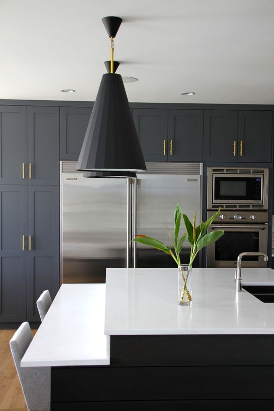 blue grey cabinets, quartz countertops, a dash of open shelving, subway tiles