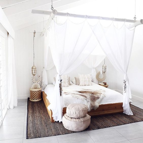 Boho Chic Inspired Bedroom With A Cool Bamboo Beams For Hanging Canopy