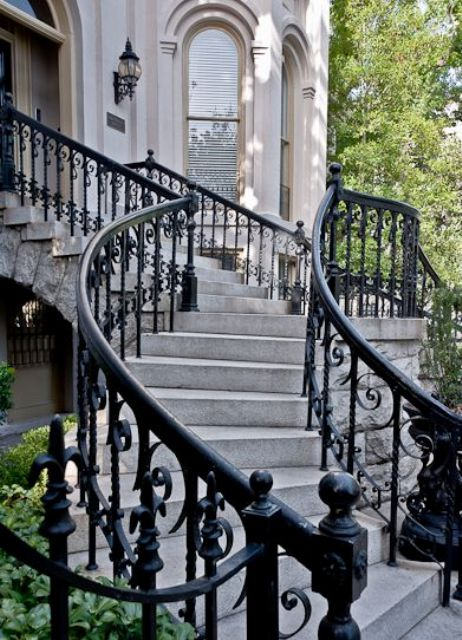 Gorgeous Black Wrought Iron Railing For A Chic Entrance Look