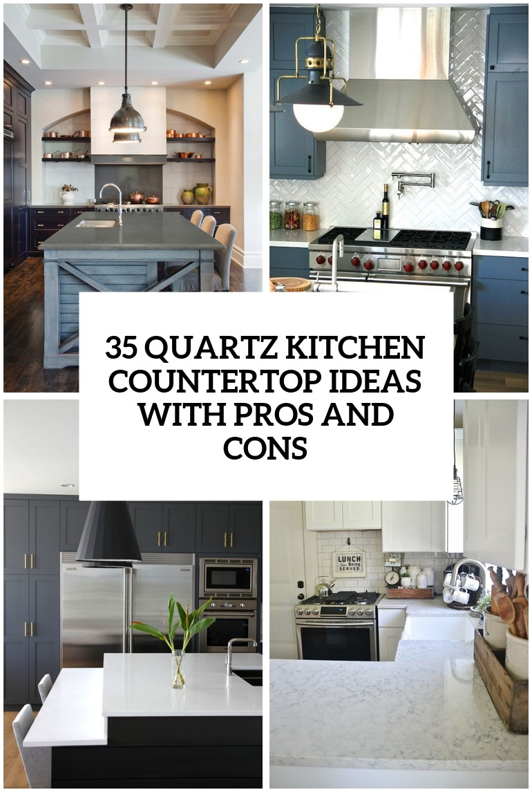 Lovely 29 Quartz Kitchen Countertops Ideas With Pros And Cons