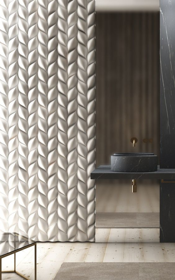 stunning braided 3D wall panel turns the whole bathroom into a masterpiece
