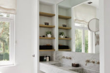 30 minimalist bathroom with a niche with storage shelves and a mirror