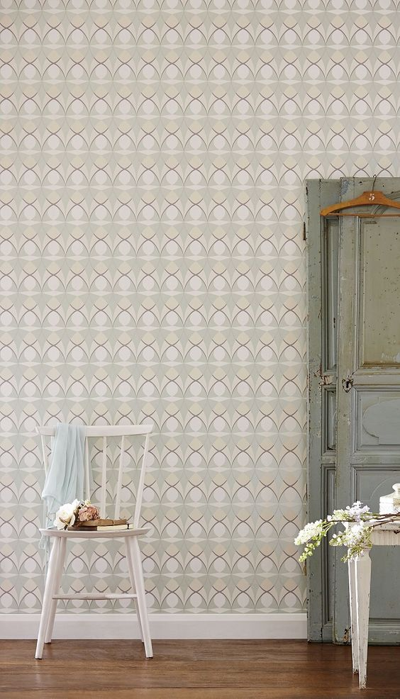 retro styled wallpaper design featuring an all over geometric pattern in neutral colors