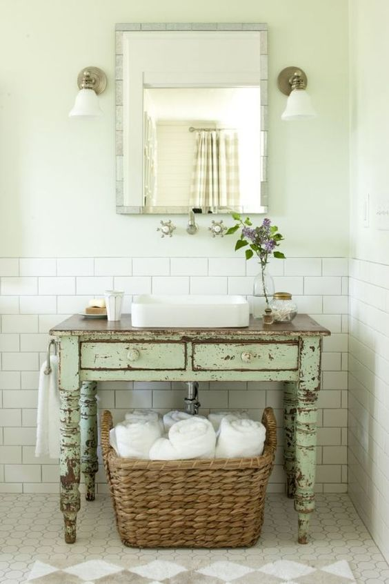 shabby chic wooden bathroom vanity with drawers