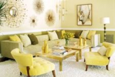 30 sunny yellow and green upholstery, light yellow walls for a summer-inspired living room