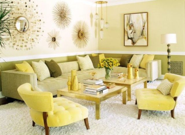 sunny yellow and green upholstery, light yellow walls for a summer-inspired living room