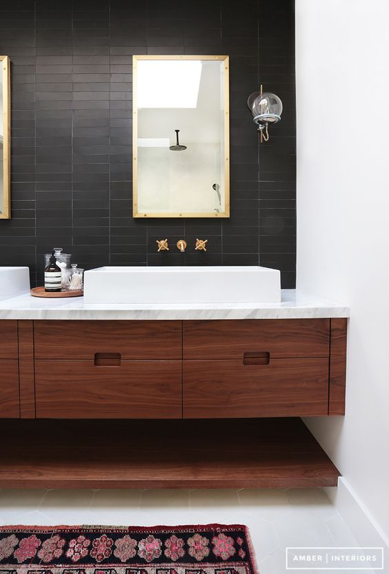 Rich Stained Wooden Floating Vanity With An Open Shelf