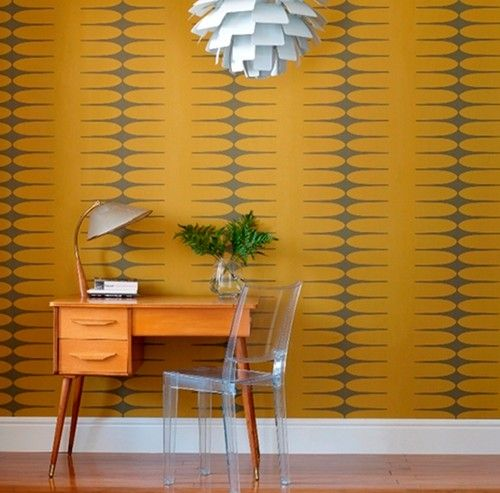 vintage yellow and grey wallpaper makes a bold statement