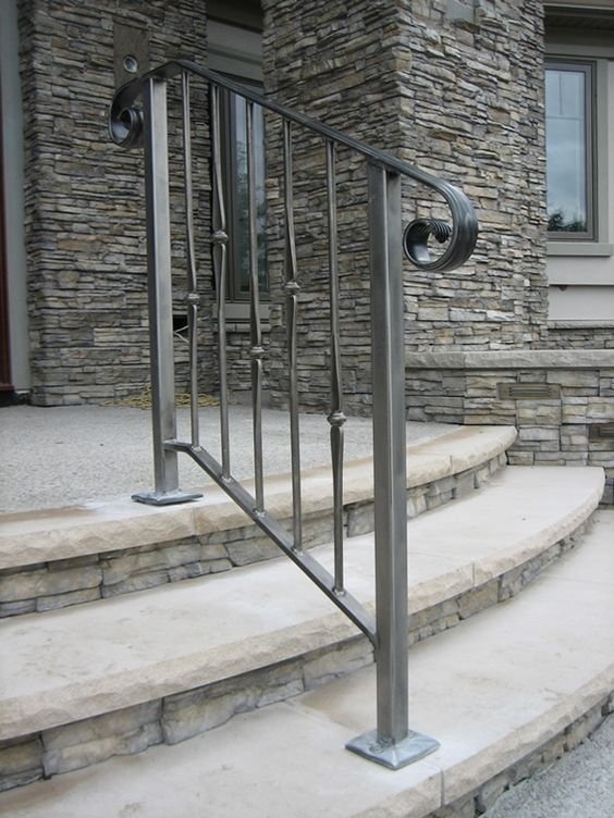 simple minimalist wrought iron handrail and railing