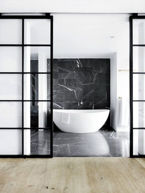 33 stylish interior glass doors ideas to rock digsdigs black framed sliding glass doors for a bathroom planetlyrics Gallery