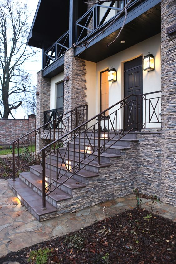 laconic wrought iron railing with X pattern