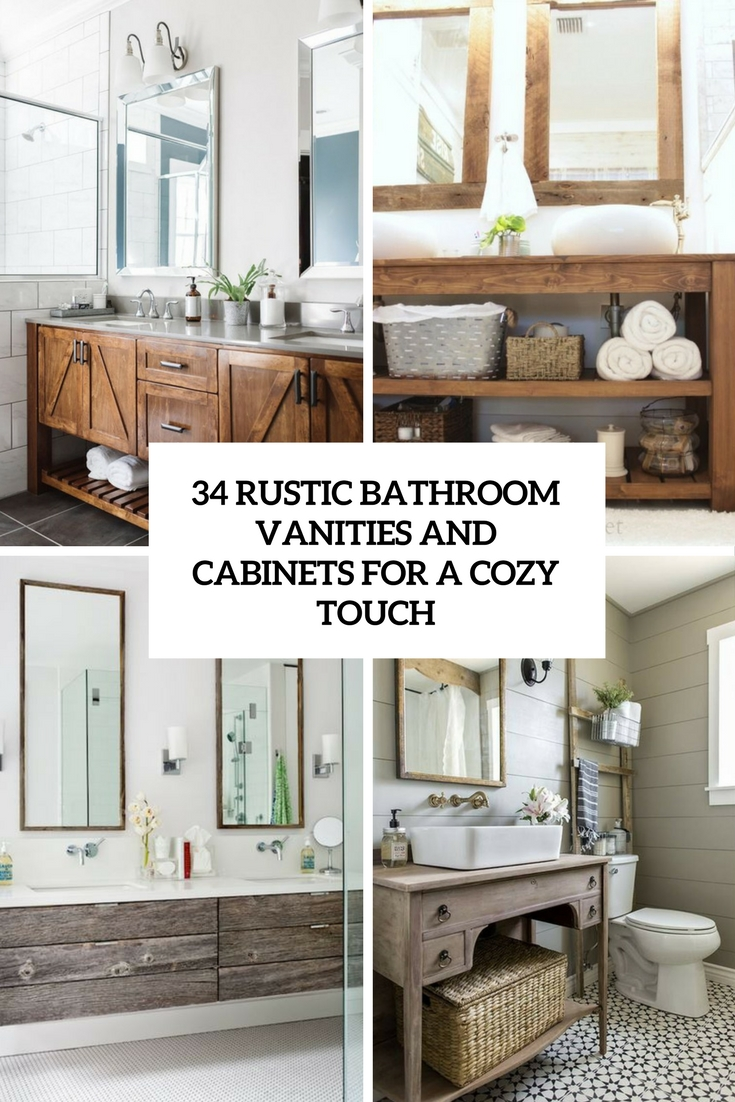 rustic bathroom vanities and cabinets for a cozy touch cover