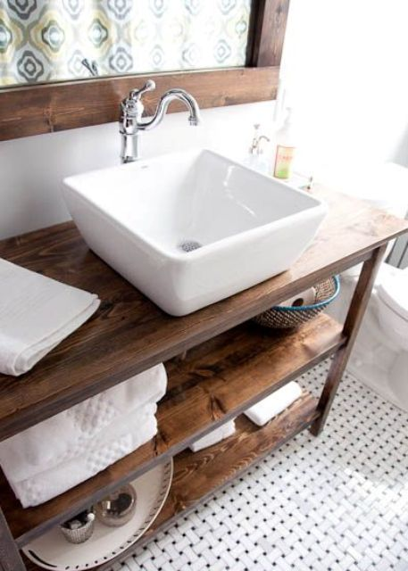 Warm Wood Stained Bathroom Vanity With Two Open Shelves