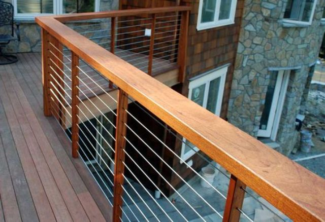 Outdoor Deck With Warm Wood Posts, Cable Railings