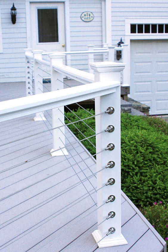 White Cable Wire Railing - Dolgular.com