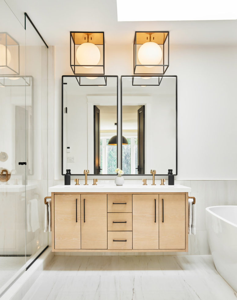 Even a floating bathroom vanity could looks like it's designed in Scandinavian style. (Two Fold Interiors)