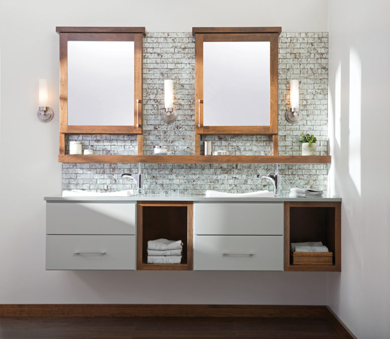 You can combine several cabinets into a single vanity with a long countertop. (Dura Supreme Cabinetry)