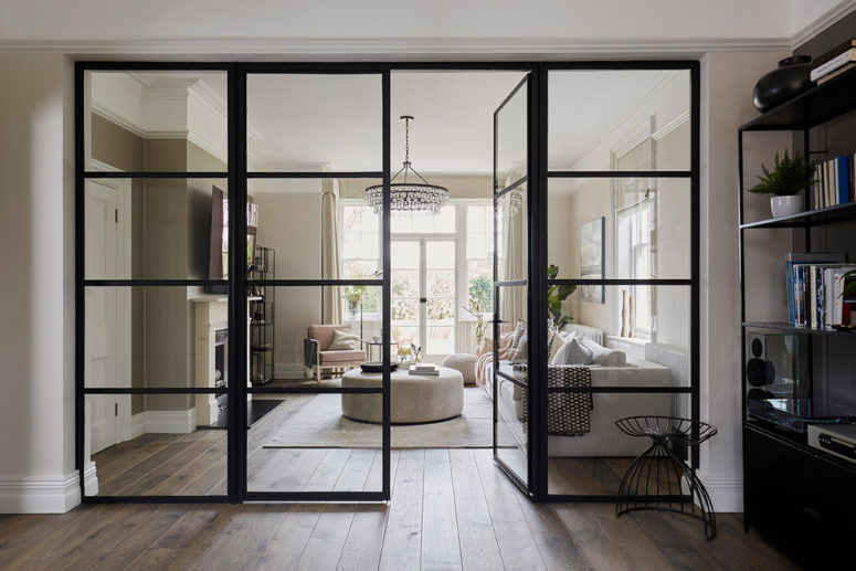 black frames works great for minimalist glass doors (Cherie Lee Interiors)