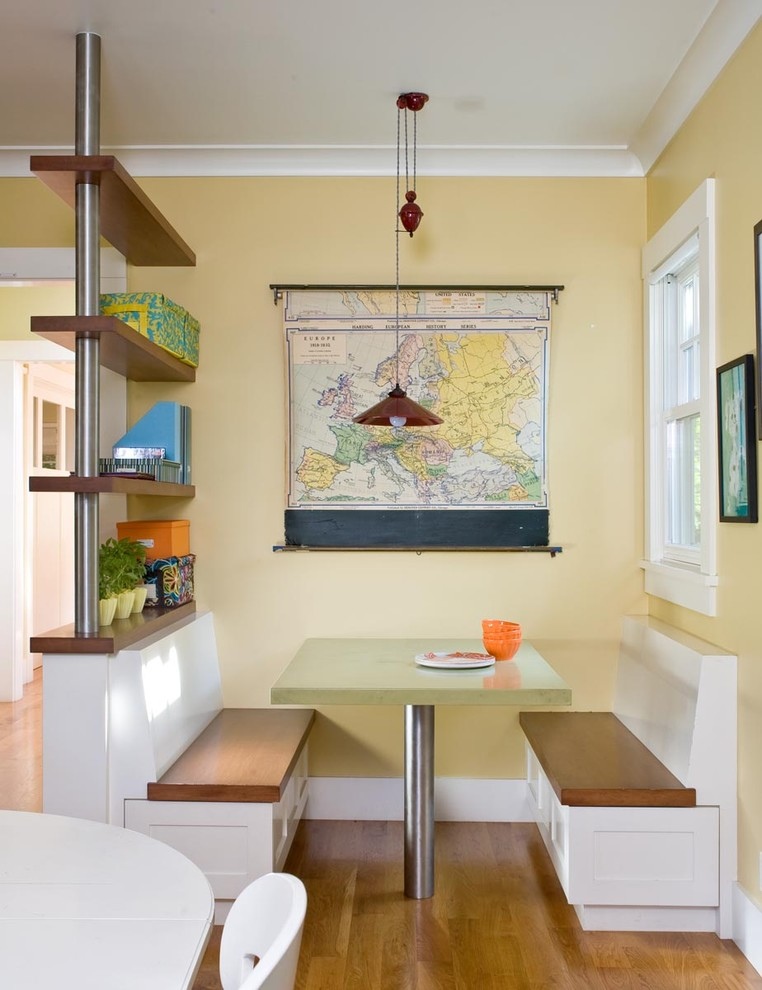 a vintage world map on a wall is a great way to show your travel addiction (Ana Williamson Architect)