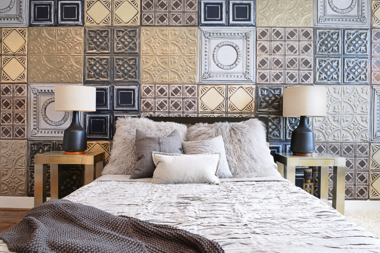 mixed vintage-inspired tiles looks chic on a wall of this bedroom (Contour Interior Design, Inc.)