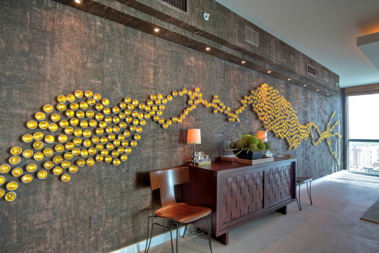 a chocolate cork wall is a great background for any wall art (A. Keith Powell Interior)