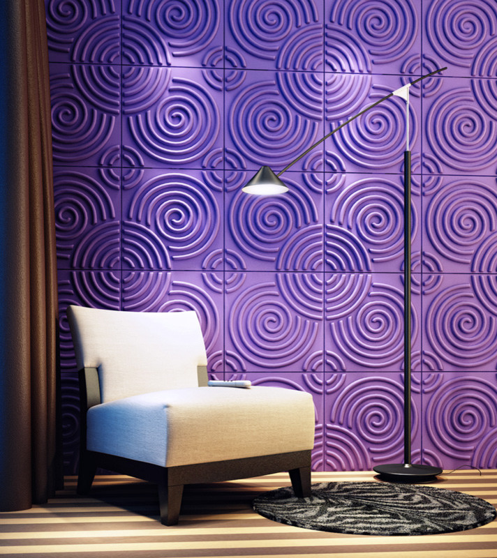 three dimensional wall covering inspired by spirals (M&W interior & industrial design studio)
