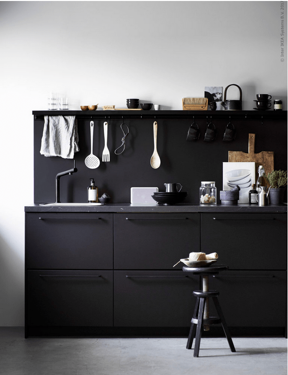 Black IKEA Kungsbacka Kitchen Of Recycled Timber