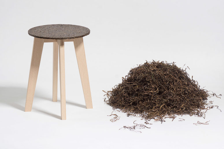 These stools are eco friendly, made of wood and eelgrass, which is turned into solid seats
