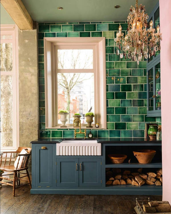 This English Country Kitchen Features Dark Stained Wood Floors, Handmade  Green Tiles And Gorgeous Crystal