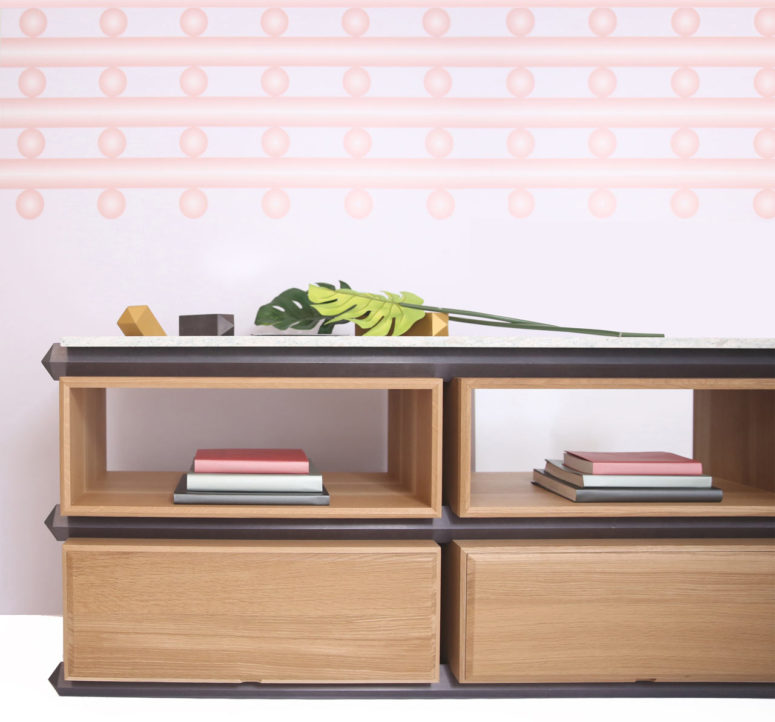 customizable storage system with stone tops digsdigs. Black Bedroom Furniture Sets. Home Design Ideas