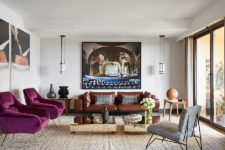 01 This chic modern apartment impresses with colors, textures, artworks and its great artistic vibe