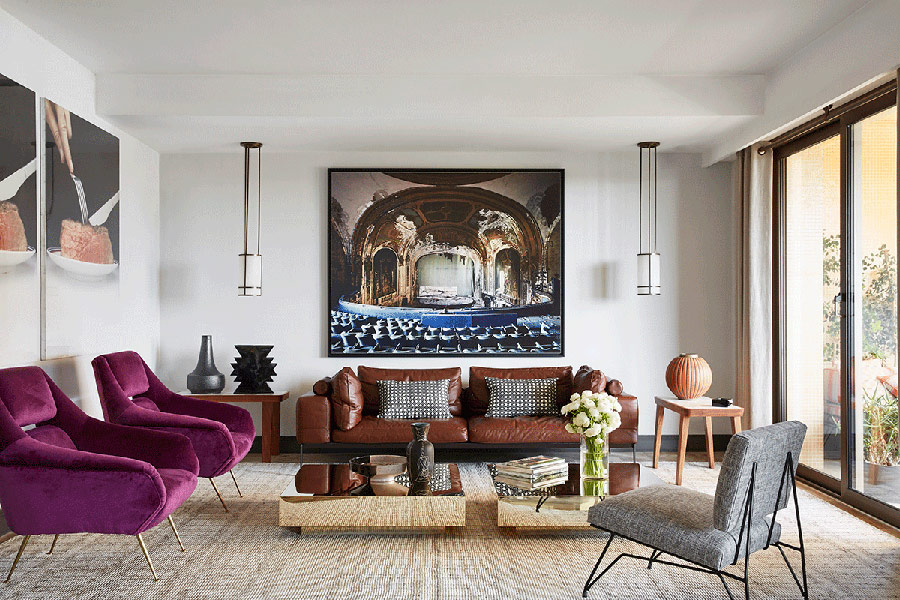 This chic modern apartment impresses with colors, textures, artworks and its great artistic vibe