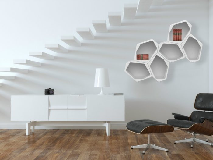 It can be wall-mounted or standing, and easily reconfigured if you want