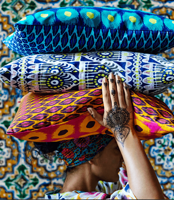 The textiles are bold and colorful, the prints are totally boho-inspired ones