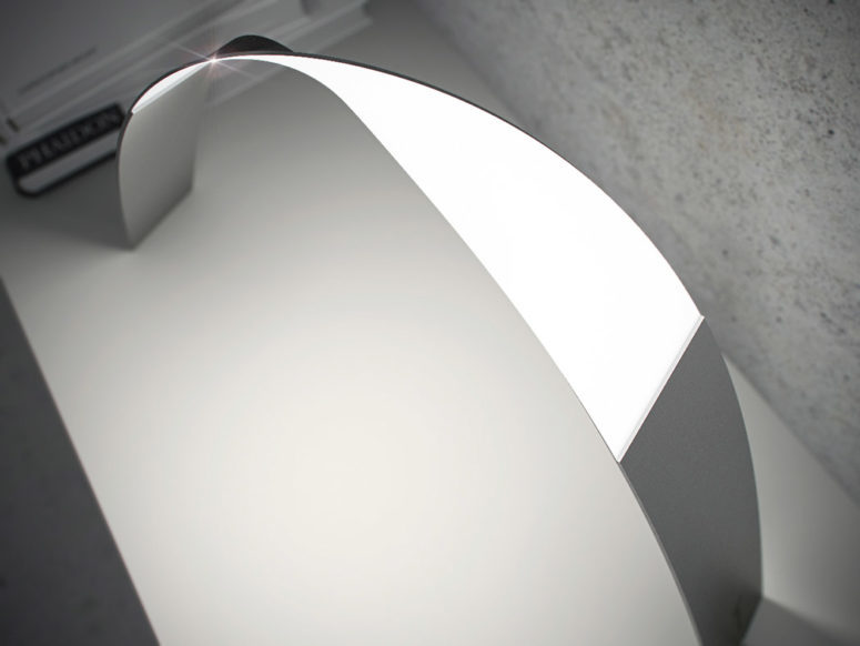a bent minimalist LED lamp can be bent in several directions