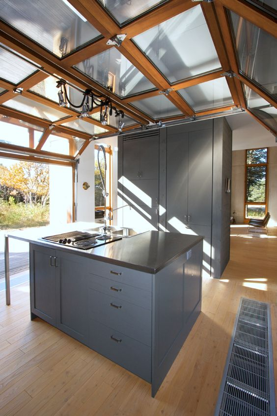 Modern Kitchen With A Roll Up Garage Door To Enjoy The Views Whole Cooking And Eating