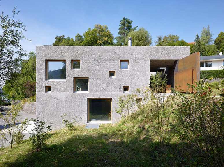 The outside of the home was left as it was, it is polished concrete and it looks modern and fresh
