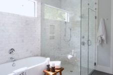 03 a freestanding bathtub makes this bathroom chic and modern